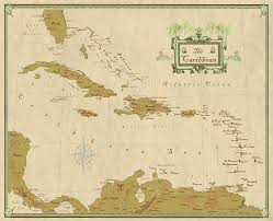 Carribbean Map Amazon Com Caribbean Wall Map With West Indies Decorative Modern
