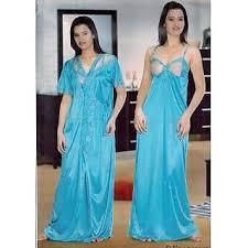 super 2p night wear set blue nighty sheer on chest u0026 over