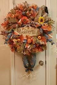 Halloween Wreath Ideas Front Door 157 Best Fall Mesh Wreaths Images On Pinterest Fall Mesh Wreaths