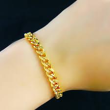 gold bracelet chain design images Genuine fashion 24k gold bracelet men jewelry yellow gold big jpg