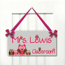 themed signs personalized s gift classroom door sign owls themed