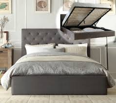 chester gas lift double queen king size grey charcoal fabric bed