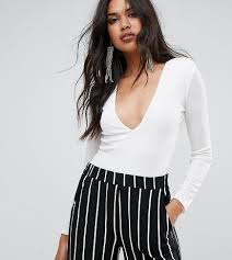 missguided shoulder pad plunge neck bodysuit in white lyst