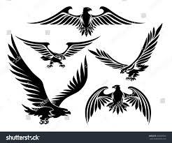 heraldic eagle icons set bird tattoo stock vector 269200676