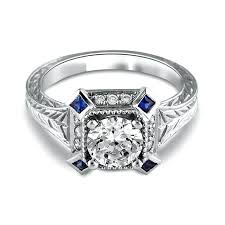art deco diamond and sapphire engagement rings art deco blue