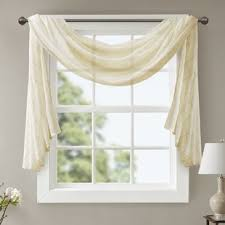 Scarf Curtains Ivory And Window Scarf Curtains Drapes You Ll Wayfair
