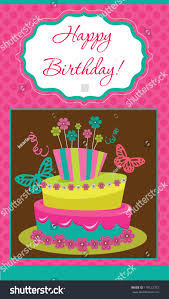 happy birthday cake card design vector stock vector 119122372