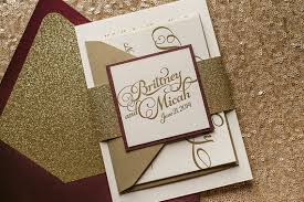gold wedding invitations wine gold letterpress glitter fall wedding invitation gold