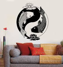 vinyl wall decal yin yang tai lotus chinese philosophy zen fish