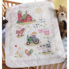 on the farm baby quilt kit bucilla sted cross stitch kits at