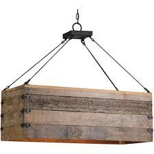 Rectangle Pendant Light Natural Rustic Lodge Rectangular Wood Cart 3 Light Island Pe
