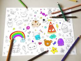 kawaii chibi coloring kids instant download