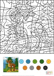wild goat color by number free printable coloring pages