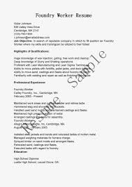 plumber resume examples foundry worker sample resume