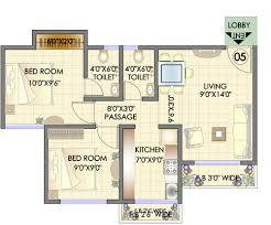 2bhk floor plan residency park hdil