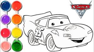 how to draw u0026 color cars 3 lightning mcqueen kids drawing