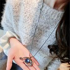 long locket pendant necklace images European fashion christmas gift necklace evil eye blue rhinestone jpg