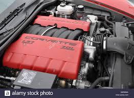 c6 corvette engine a 7 liter ls7 corvette engine in a corvette c6 stock photo