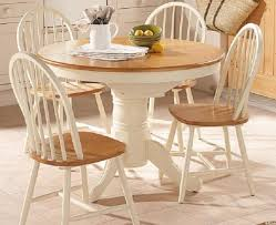 Birch Kitchen Table by Cream Stained Birch Wood Dining Table With Round Top Combined With