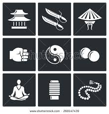 wing chun icons temple butterfly stock vector 268147439