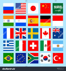 Flags Of Nations Images Square Flags Icons Flat Style Countries Stock Vektorgrafik