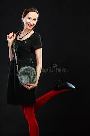 fashion woman in red tights handbag stock photo image 57721876