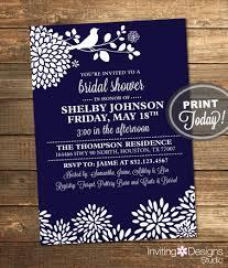 navy blue bridal shower invitation bird floral modern