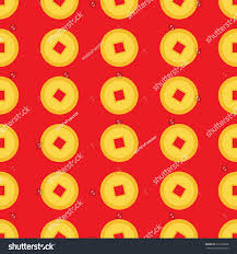 golden china pattern coin set seamless pattern china stock illustration