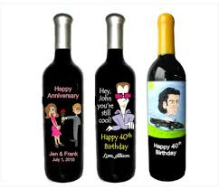 anniversary wine bottles birthday or anniversary caricature engraved on a wine bottle for a