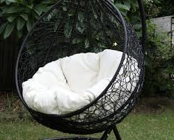 skycarte hanging egg chair with plush cushion and