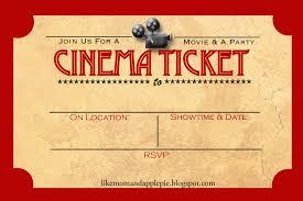 movie ticket invitation template movie night ticket template free