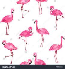 watercolor pink flamingos hand drawn seamless stock illustration