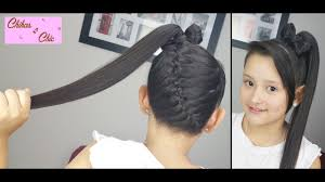diagonal braid into a ponytail bow braided hairstyles