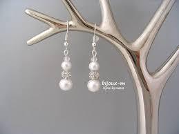 boucle d oreille mariage bijoux mariage boucles d oreilles perles blanches nacrées et