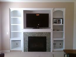 classic white oak wood built in bookcase combined brown wall color