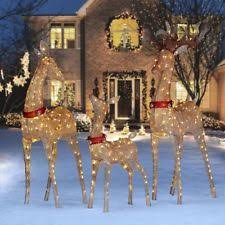 Outdoor Deer Christmas Decorations by Brown Twinkling Mesh Deer Family Led Outdoor Christmas Decoration