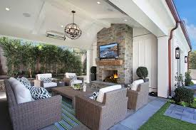Outdoor Covered Patio Pictures Modern Covered Patio With Low Gray Armless Outdoor Sofa And West