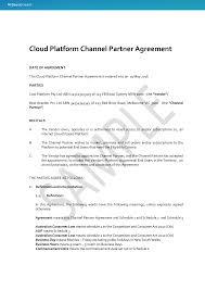 Vendor Contract Template 9 Download Cloud Platform Channel Partner Agreement Docustream