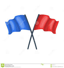 Single Flag Red And Blue Flags Paintball Single Icon In Cartoon Style Vector