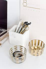 Desk Organization Diy by Diy Gold Pattern Desk Organizers Homey Oh My