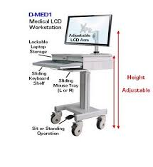 Computer Desk For Laptop D Med1 Medical Lcd Computer Laptop Cart Height Adjustable Lock