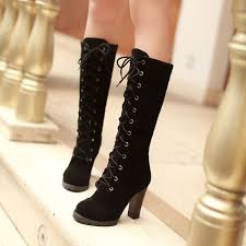 womens fashion boots uk womens mid calf lace up boots block high heels combat