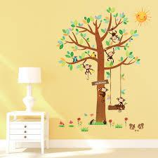 Nursery Monkey Wall Decals Decowall Dm 1401 5 Little Monkeys Tree Peel U0026 Stick Nursery Wall
