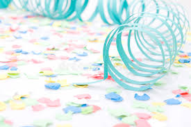 paper ribbons party paper ribbons and confetti stock photo image 7022330