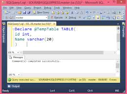 Sql Declare Temp Table Table Variable In Sql Server