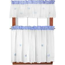 blue semi sheer kitchen curtains blue gingham curtains