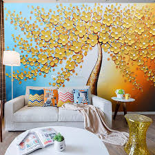 3d Wallpaper For Bedroom by Knife Painting Wall Mural Golden Tree Wallpaper Custom 3d