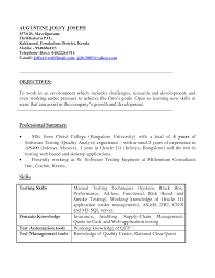 Software Testing Resume Samples For Experienced by 1 Year Experience Resume Format For Testing