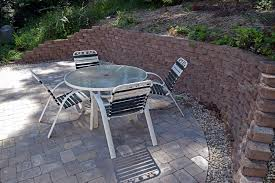 Making A Paver Patio by The Finished Patio And Retaining Wall We Also Installed A Gravel