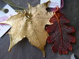 ornaments maple and oak leaf genuine leaves with copper or gold